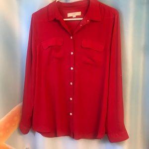 Ann Taylor Loft Size LP Red blouse